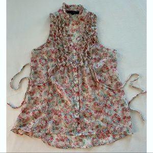 HeartSoul Semi-Sheer Floral Top, Small